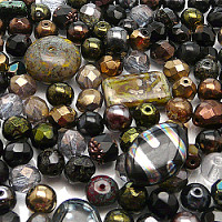 Czech Glass Beads, BLACK GOLD MIX, 100gr