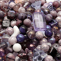 Czech Glass Beads, Lilac Alstromeria MIX, 100gr