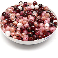 100gr Mix of Czech Glass Beads, Burgundy Wine
