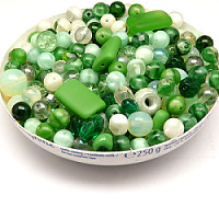 100gr Mix of Czech Glass Beads, Green Apple