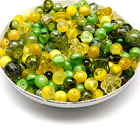 100gr Mix of Czech Glass Beads, Olive Grove
