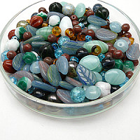 Czech Glass Beads, Cold Green MIX, 125g