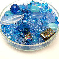 Czech Glass Beads, Multi Exclusive Blue/Crystal MIX, 125g