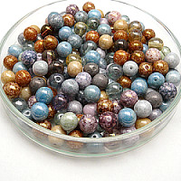 100gr Czech Pressed Glass Beads Round 8mm Luster Coatings Mix