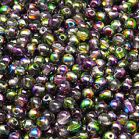 50pcs Czech Pressed Glass Beads Round 4mm Crystal Violet Green Magic
