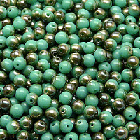50pcs Czech Pressed Glass Beads Round 4mm Opaque Turquoise Green Celsian