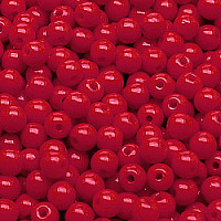50pcs Czech Pressed Glass Beads Round 4mm Opaque Red Coral