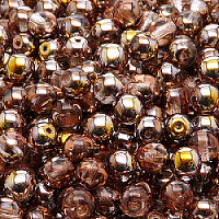 25pcs Czech Pressed Glass Beads Round 6mm Crystal Gold Capri