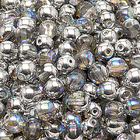 25pcs Czech Pressed Glass Beads Round 6mm Crystal Silver Rainbow
