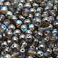 25pcs Czech Pressed Glass Beads Round 6mm Crystal Graphite Rainbow
