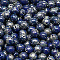 25pcs Czech Pressed Glass Beads Round 6mm Opaque Sapphire Picasso