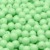 25pcs Czech Pressed Glass Beads Round 6mm Opaque Mint Green