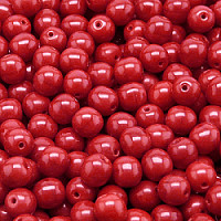 25pcs Czech Pressed Glass Beads Round 6mm Opaque Coral Red