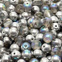 12pcs Czech Pressed Glass Beads Round 7mm Crystal Silver Rainbow