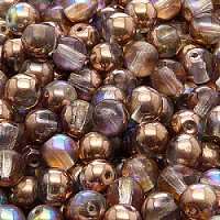 12pcs Czech Pressed Glass Beads Round 7mm Crystal Copper Rainbow