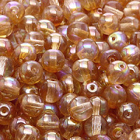 12pcs Czech Pressed Glass Beads Round 7mm Crystal Orange Rainbow