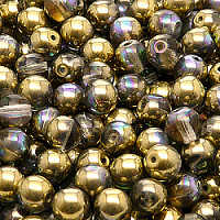 12pcs Czech Pressed Glass Beads Round 7mm Crystal Golden Rainbow