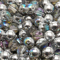 12pcs Czech Pressed Glass Beads Round 8mm Crystal Silver Rainbow