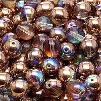 12pcs Czech Pressed Glass Beads Round 8mm Crystal Copper Rainbow
