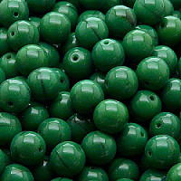 12pcs Czech Pressed Glass Beads Round 8mm Opaque Pine Green