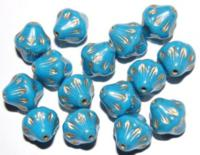 Czech Pressed Beads Bicone Light Blue Opaque Gold Luster 13mm