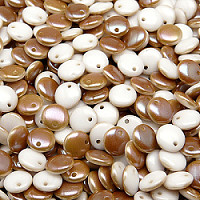 50pcs Czech Pressed Glass Lentil Beads 6mm Chalk White Celsian
