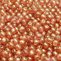 50pcs Czech Pressed Glass Beads Round 4mm Crystal Red Luster