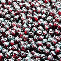 50pcs Czech Pressed Glass Beads Round 4mm Ruby Travertine