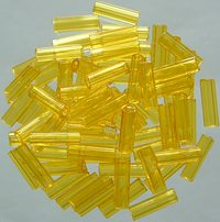 Czech Bugle Beads Yellow Transparent / PB045-80010