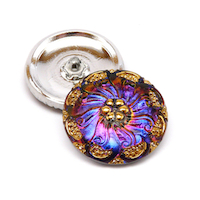 1pc Czech Hand Made Art Glass Button 27mm Crystal Gold Floral Ornament Volcano