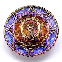 1pc Hand Made Czech Art Glass Button 33mm Crystal Gold Floral Ornament Volcano
