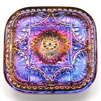 Czech Glass Handmade Button Gold Floral Ornament Square Blue / Pink Transparent 40mm
