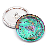 1pc Czech Hand Made Art Glass Button Tulip Round 33mm Crystal Green Vitrail