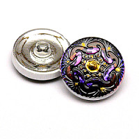 1pcs Czech Handmade Art Glass Button Round 18mm Crystal Volcano Floral Ornament
