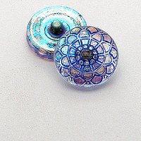 1pcs Czech Handmade Art Glass Button Round 18mm Crystal AB Blue Floral Ornament