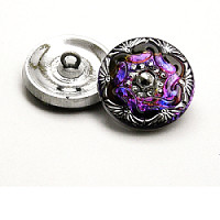 1pcs Czech Handmade Art Glass Button Round 18mm Crystal Volcano Silver Floral Ornament