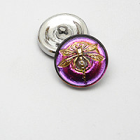 1pcs Czech Handmade Art Glass Button Round 18mm Crystal Light Volcano Gold Dragonfly