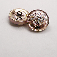 1pcs Czech Handmade Art Glass Button Round 18mm Crystal Gold Capri Silver Dragonfly