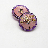 1pcs Czech Handmade Art Glass Button Round 18mm Crystal Pink Purple Gold Dragonfly