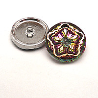 1pcs Czech Handmade Art Glass Button Round 22,5mm Crystal Vitrail Meduim Gold Floral Ornament