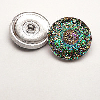 1pcs Czech Handmade Art Glass Button Round 22,5mm Crystal Green Vitrail Gold Floral Ornaments