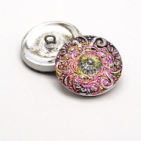 1pcs Czech Handmade Art Glass Button Round 22,5mm Crystal Vitrail Medium Platinum Floral Ornaments