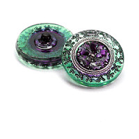 1pcs Czech Handmade Art Glass Button Round 22,5mm Crystal Green Purple Floral Ornament