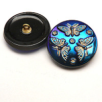 1pcs Czech Handmade Art Glass Button Round 27mm Jet Azuro Bronze Painted Butterflies
