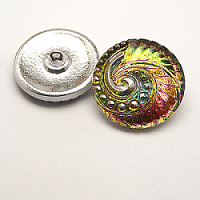 1pcs Czech Handmade Art Glass Button Round 27mm Crystal Vitrail Medium Floral Ornament
