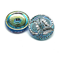1pcs Czech Handmade Art Glass Button Round 27mm Aquamarine AB Platinum Sunflowers