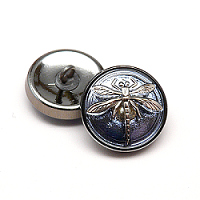 1pcs Czech Handmade Art Glass Button Round 18mm Crystal Heliotrope Silver Dragonfly