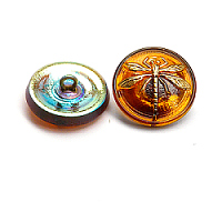 1pc Czech Handmade Art Glass Button Round 18mm Topaz Gold Dragonfly