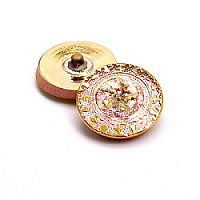 1pcs Czech Handmade Art Glass Button Round 22,5mm Crystal Capri Gold Gold Flower