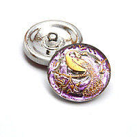 1pcs Czech Handmade Art Glass Button Round 22,5mm Crystal Pink Vitrail Gold Peacock